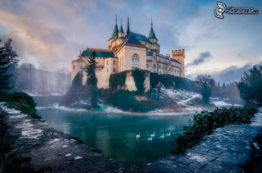 Schloss Bojnice, See, Schwäne, Nebel