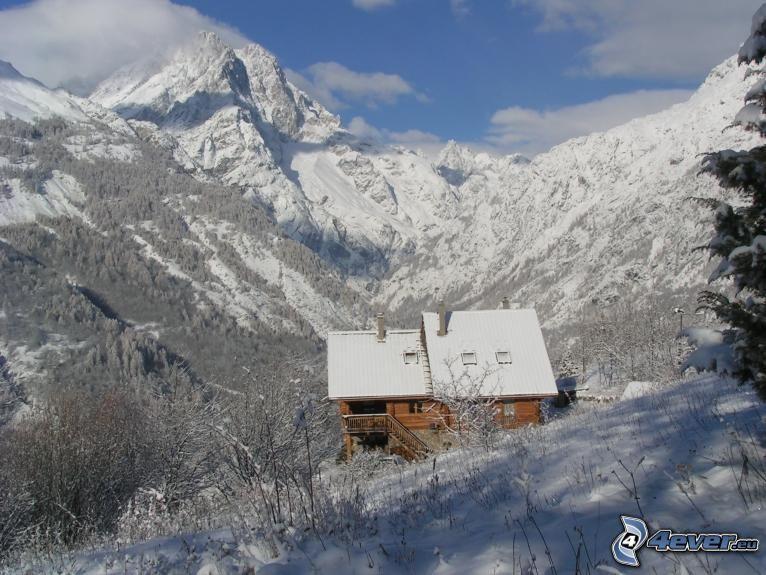 schneebedeckte Hütte, Hütte, Hochgebirge, Schnee