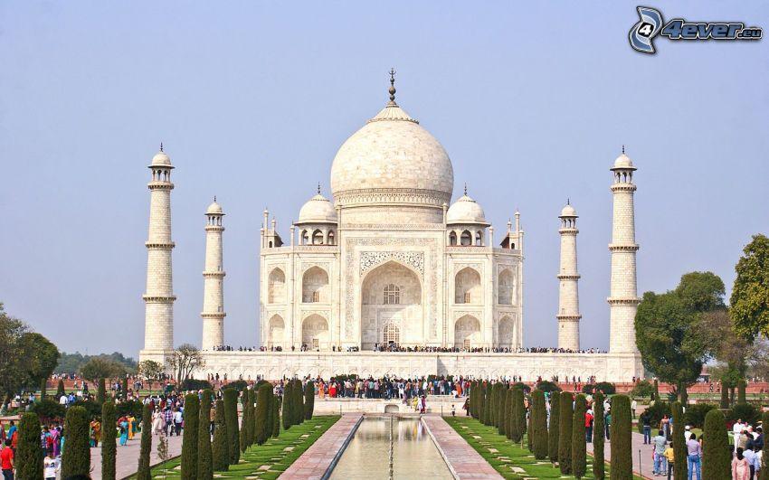 Taj Mahal, Büsche, Menschen