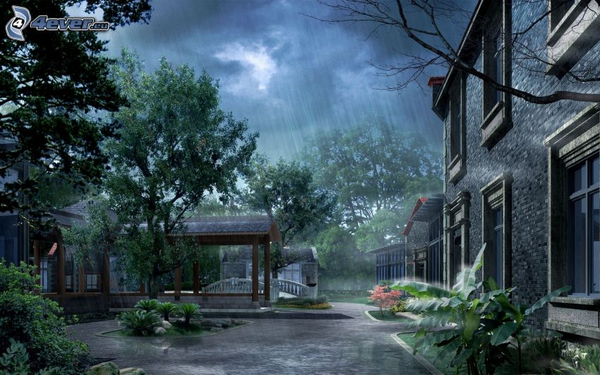 Hof, Haus, Pavillon, Bäume