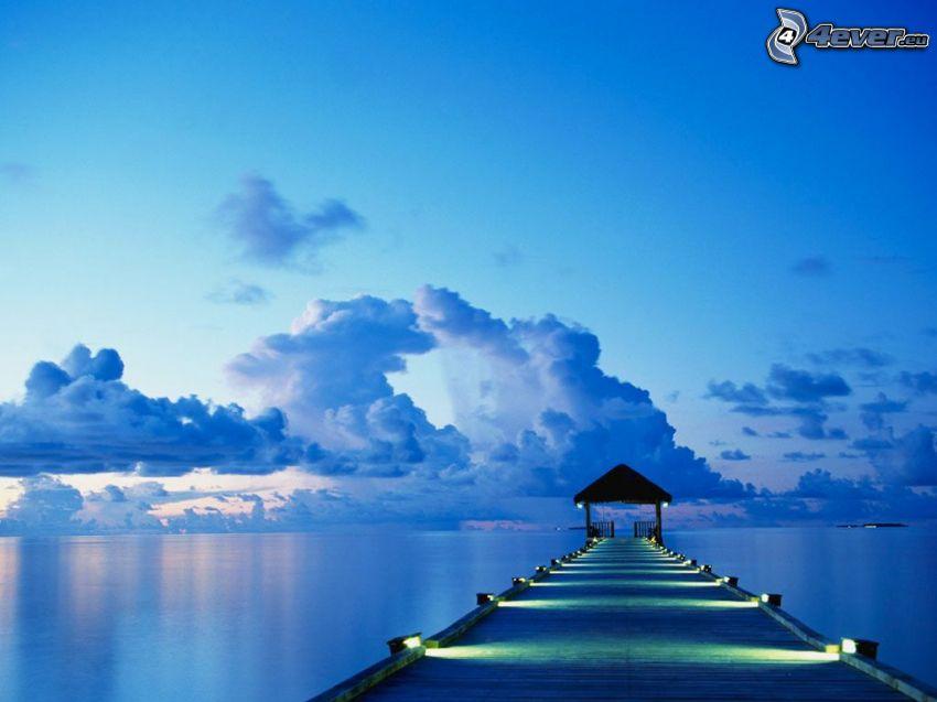 Holzsteg, Meer, Ozean, Wolken