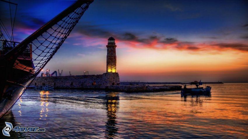 Leuchtturm, Boot auf dem Meer, Hafen