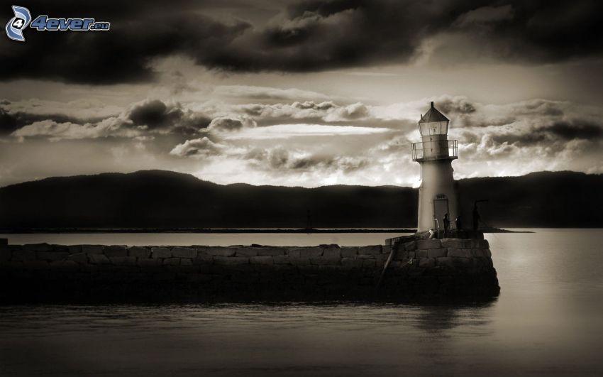 Leuchtturm, Damm, See, Berge, Tintenfisch