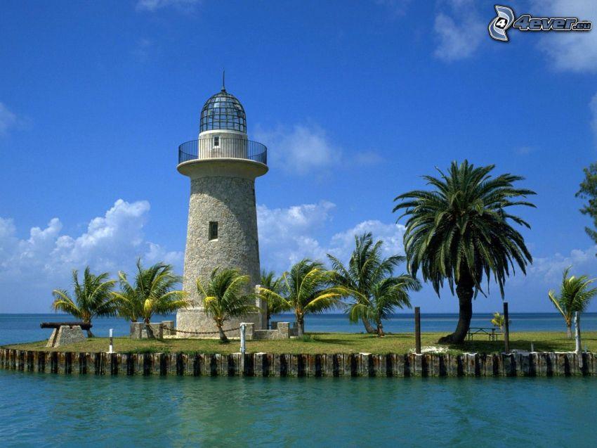 Leuchtturm, Palmen, Meer