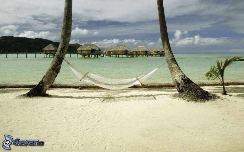 Liegestuhl, maritime Urlaubshütten, Strand, Meer