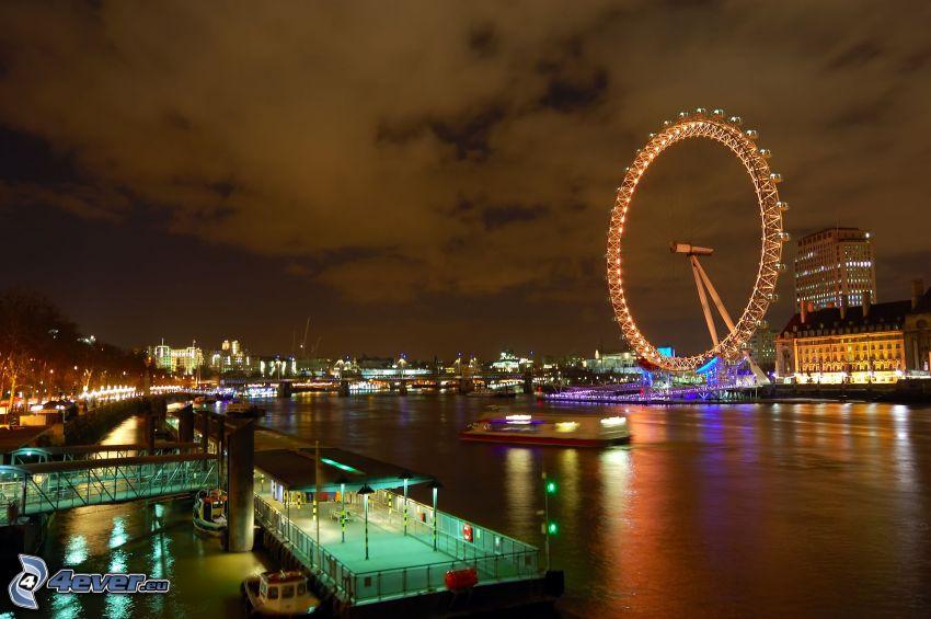 London Eye, Themse, Fluss, Nachtstadt