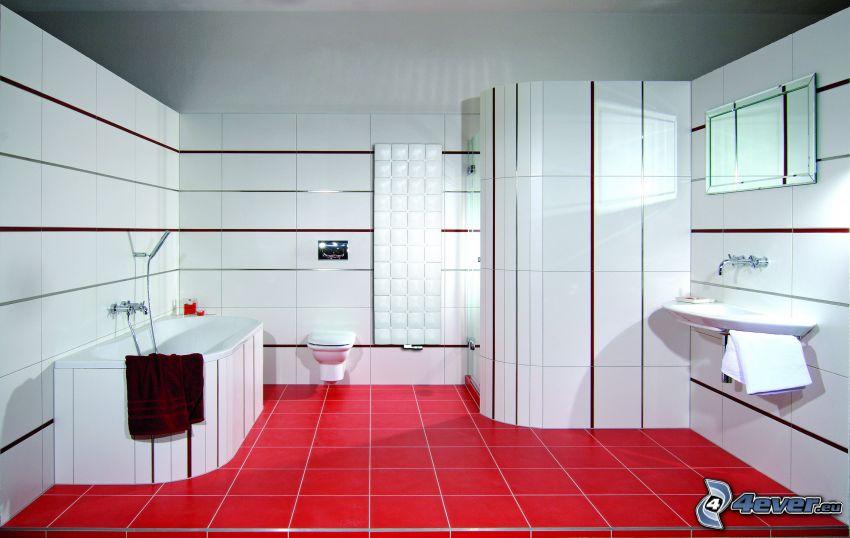 Bad, Dusche, Waschbecken