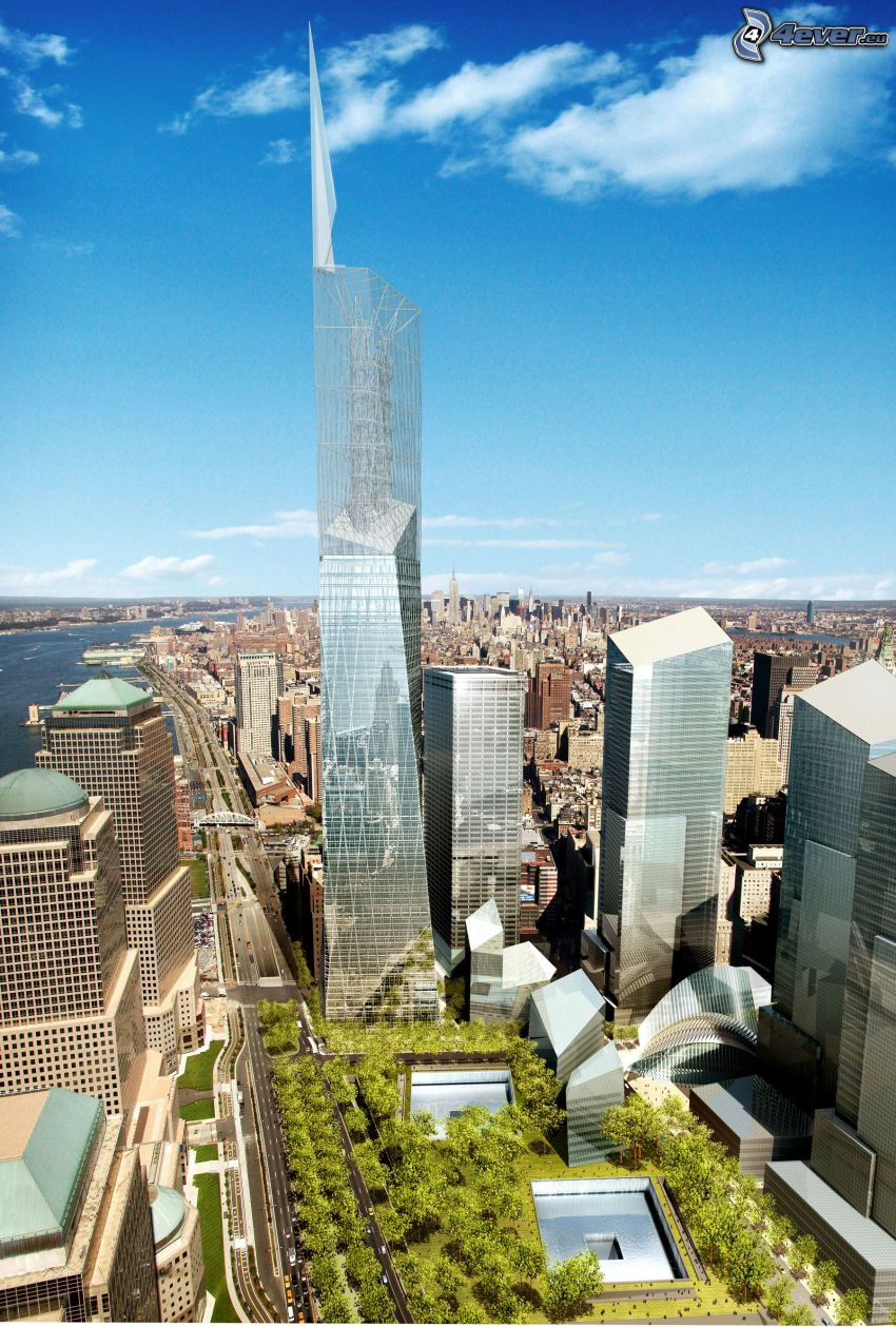 Freedom Tower, New York, Glas, Wolkenkratzer, 1 WTC