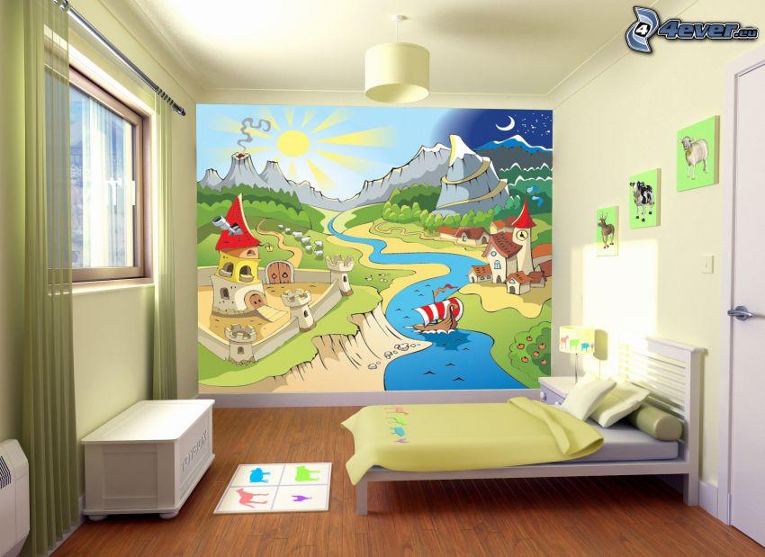 Kinderzimmer, Bild, Bett