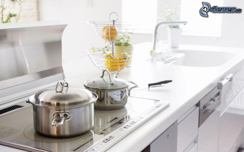 Küche, Kochtöpfe, Waschbecken