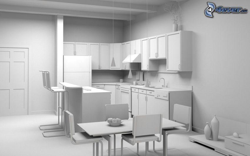 Küche, weisses Zimmer