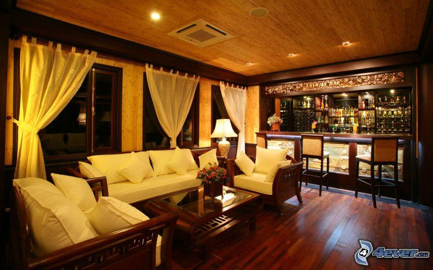 luxuriöses Wohnzimmer, bar