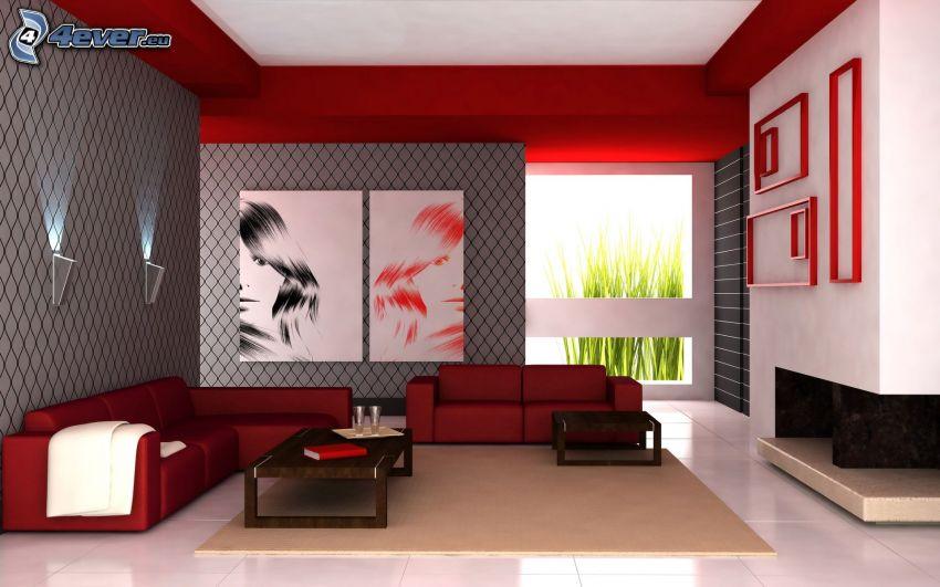 luxuriöses Wohnzimmer, Bilder, rot