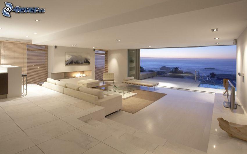luxuriöses Wohnzimmer, Blick auf dem Meer
