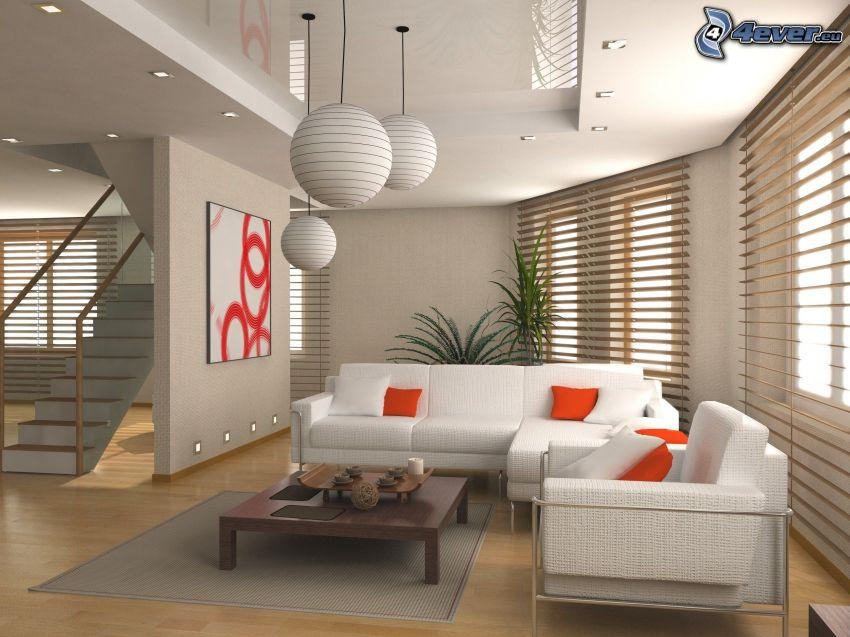 luxuriöses Wohnzimmer, Couch, Treppen