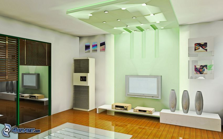luxuriöses Wohnzimmer, TV
