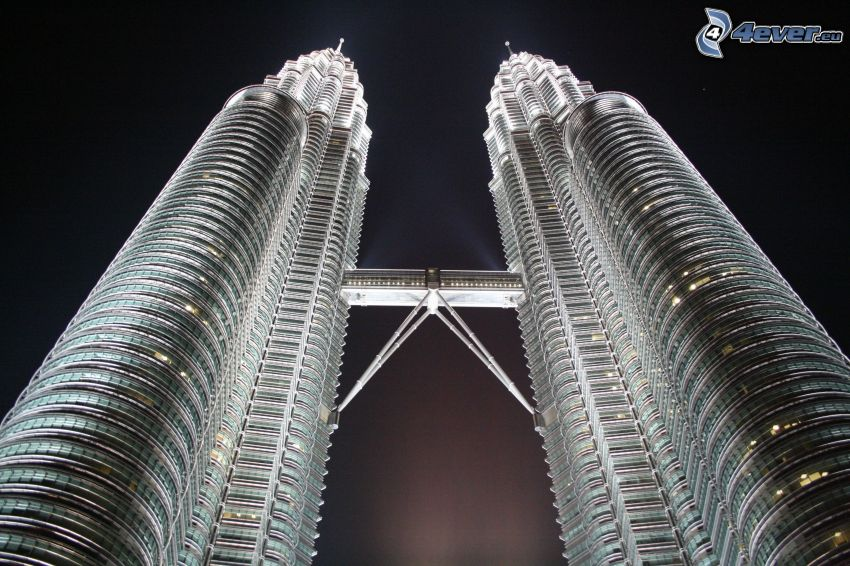 Petronas Towers, Kuala Lumpur, Nachtstadt, Wolkenkratzer