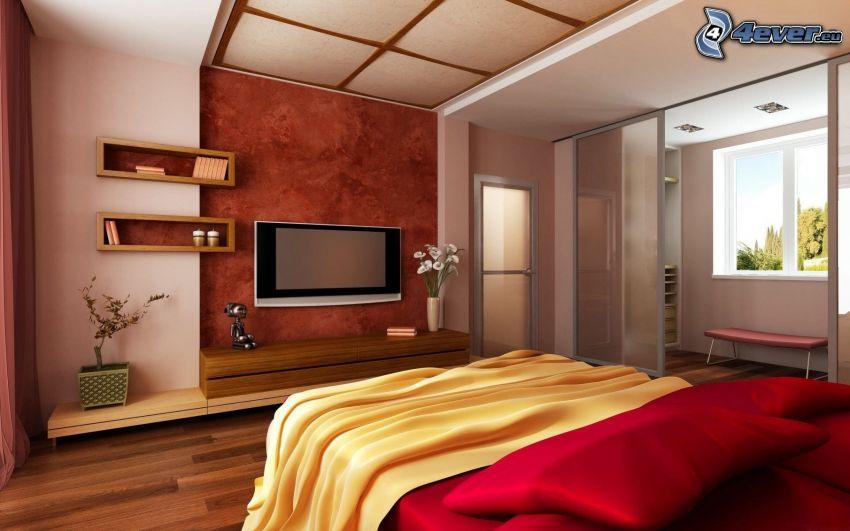 Schlafzimmer, Bett, TV