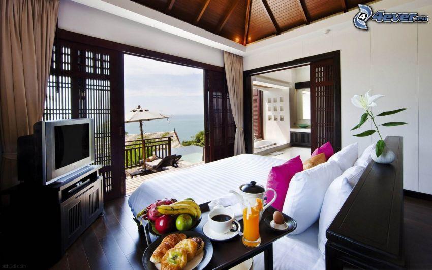 Schlafzimmer, Blick auf dem Meer, TV