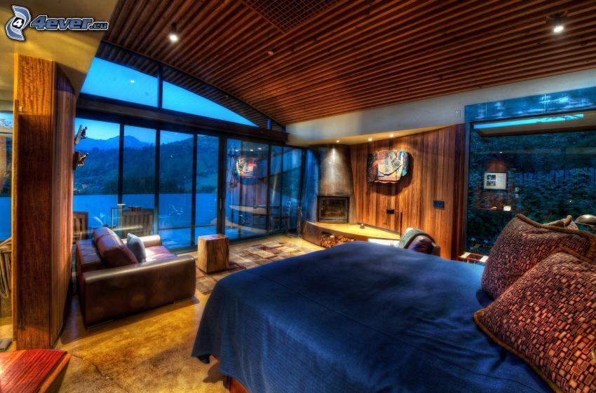 Schlafzimmer, Doppelbett, Aussicht