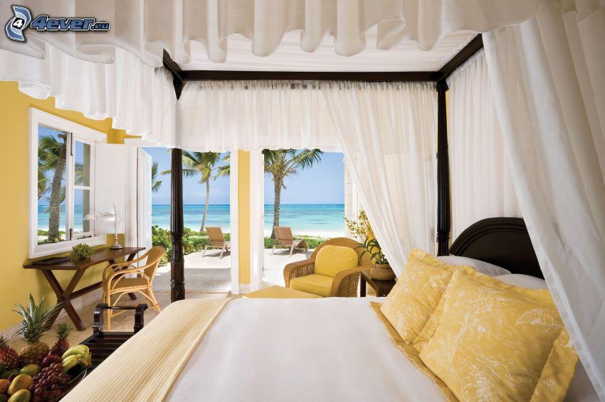 Schlafzimmer, Doppelbett, Blick auf dem Meer