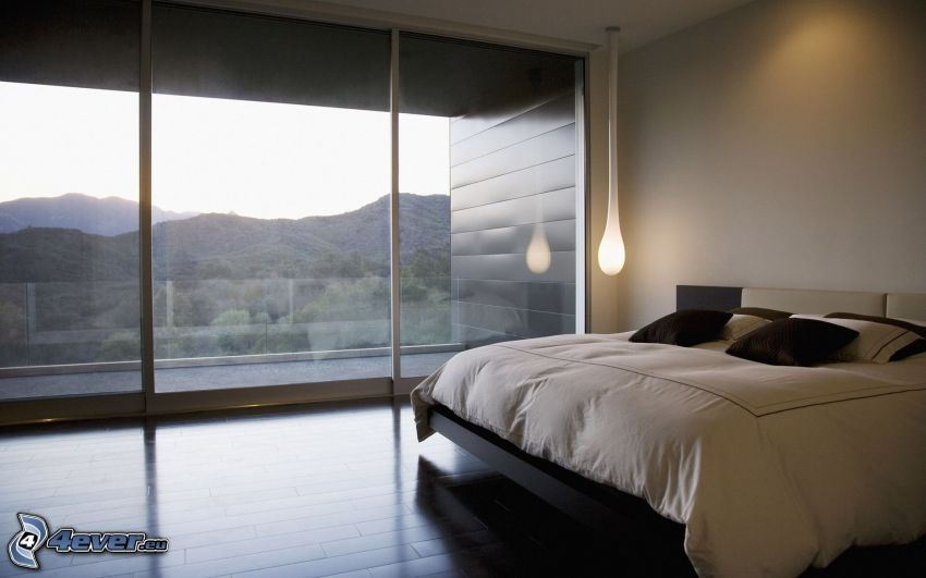Schlafzimmer, Doppelbett, Fenster, Aussicht auf die Landschaft