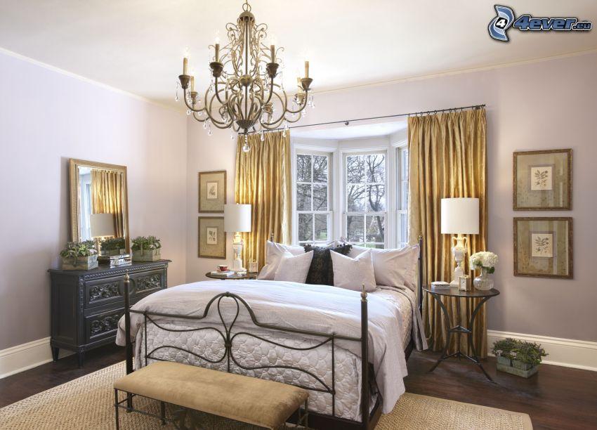 Schlafzimmer, Doppelbett, Fenster