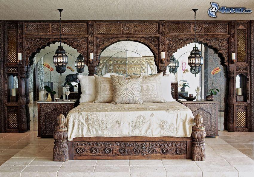 Schlafzimmer, Doppelbett, historische Zimmer