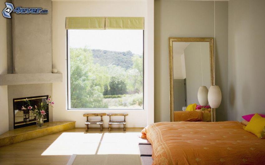 Schlafzimmer, Doppelbett, Kamin, Fenster