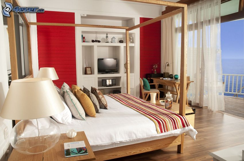 Schlafzimmer, Doppelbett, Lampe, Fenster