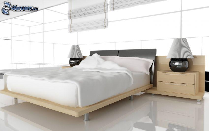 Schlafzimmer, Doppelbett, Nachttisch