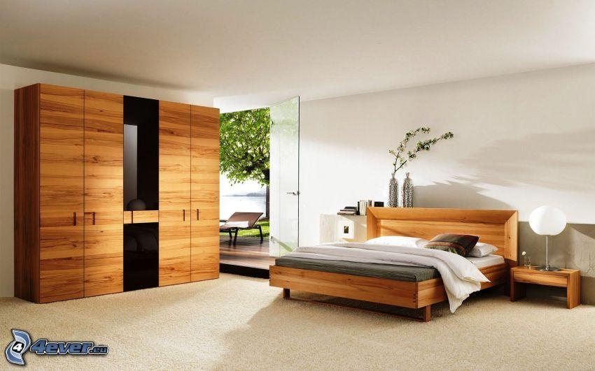 Schlafzimmer, Doppelbett, Schrank