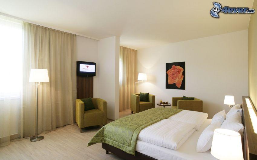Schlafzimmer, Doppelbett, Stuhl, Bild, Telefon, TV