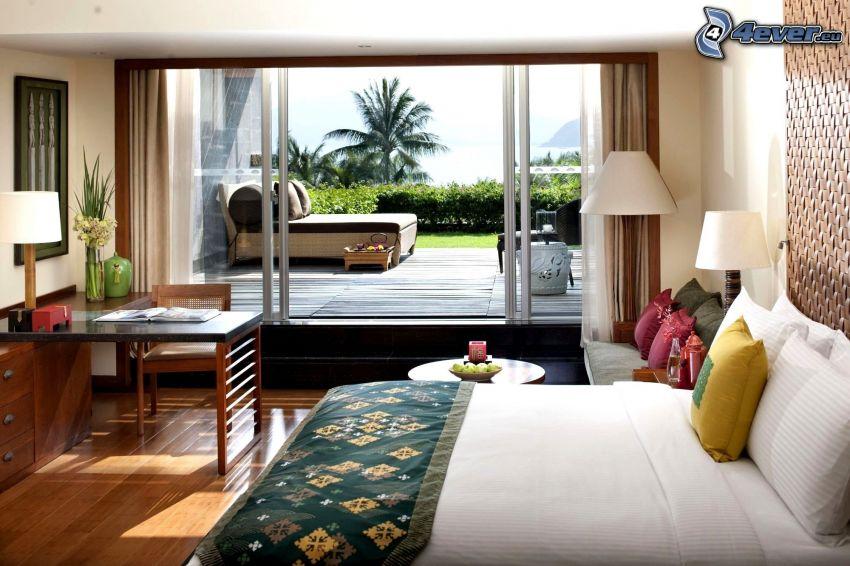 Schlafzimmer, Doppelbett, Terrasse