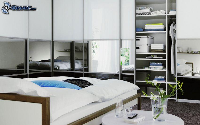 Schlafzimmer, Kleiderschrank, Doppelbett