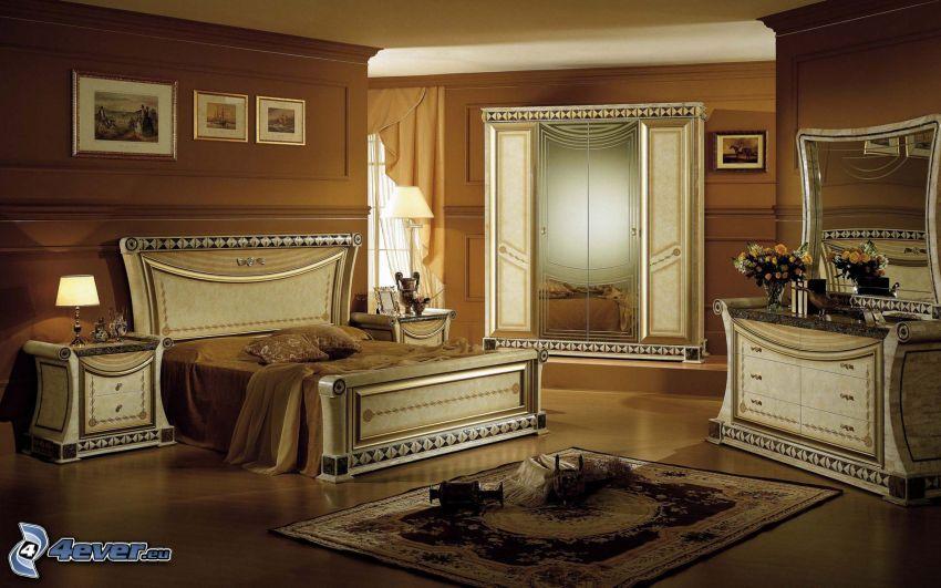 Schlafzimmer, Schrank, Nachttisch, Teppich