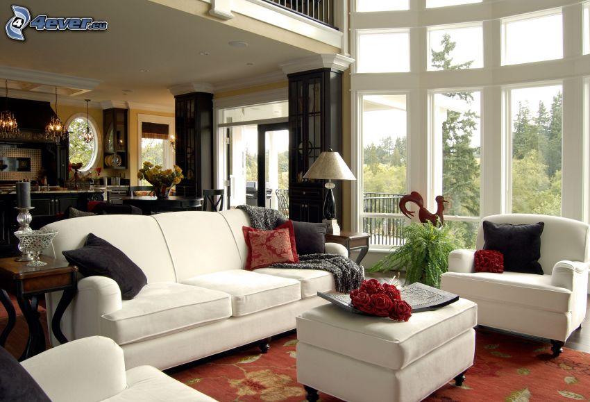 Wohnzimmer, Armstühle, Couch, Fenster
