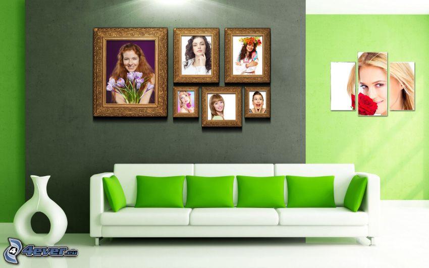 Wohnzimmer, Bilder, Sofa