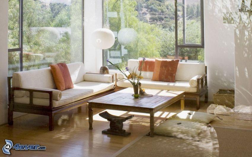 Wohnzimmer, Couch, Tisch, Fenster