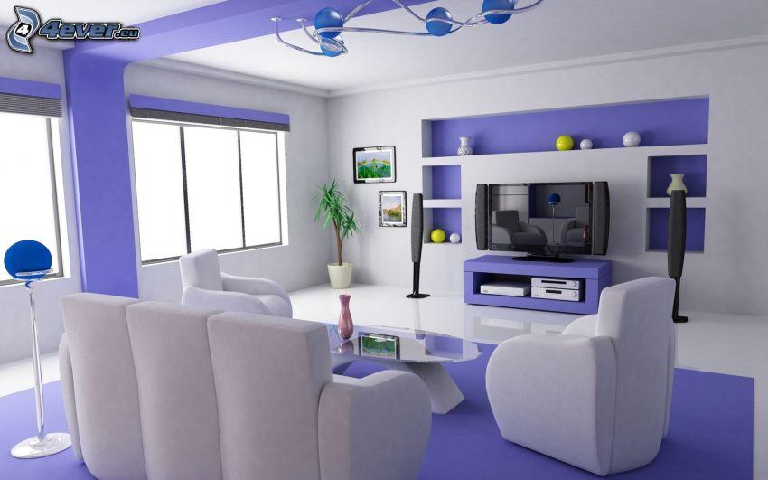 Wohnzimmer, Couch, TV