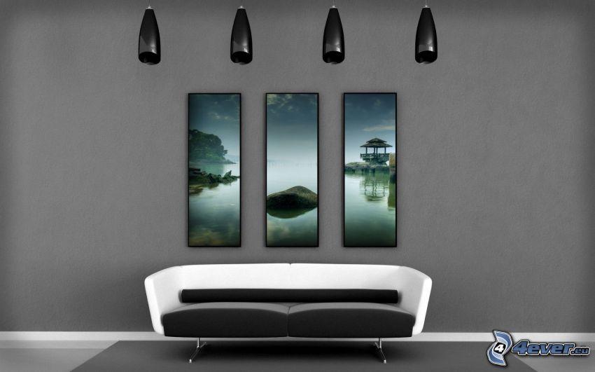 Wohnzimmer, Sofa, Bilder, Lampen