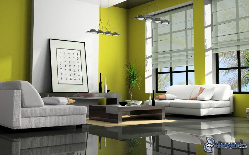 Wohnzimmer, Sofa, Fenster