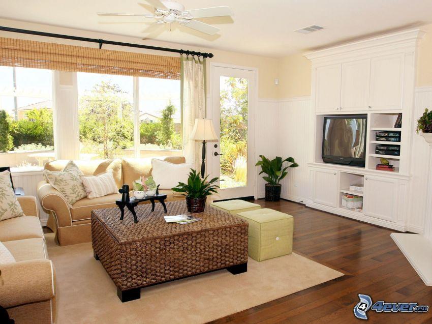 Wohnzimmer, Sofa, TV, Fenster
