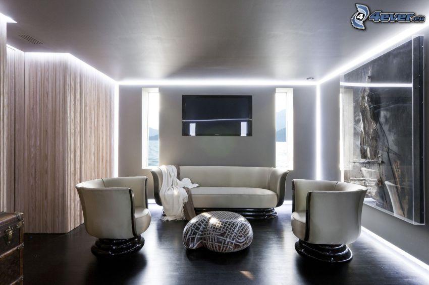 Wohnzimmer, TV, Armstühle