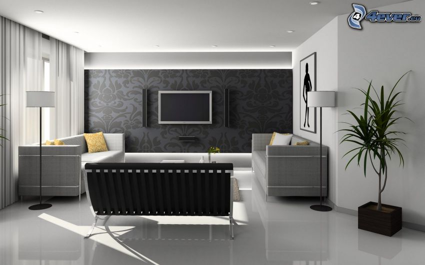 Wohnzimmer, TV, Sofa