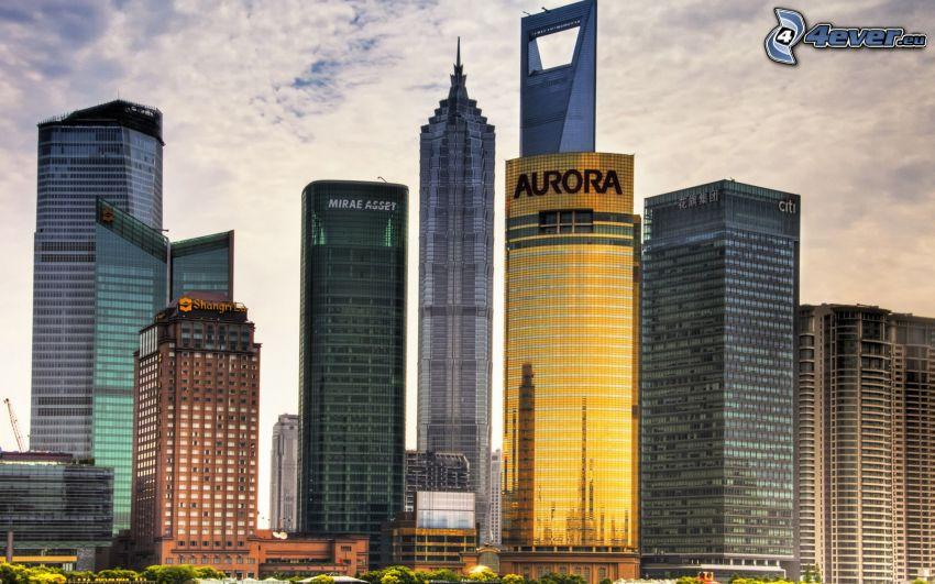 Wolkenkratzer, Shanghai, HDR