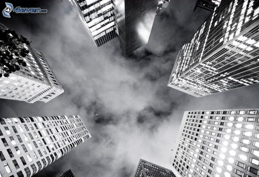 Wolkenkratzer, Wolken, Schwarzweiß Foto