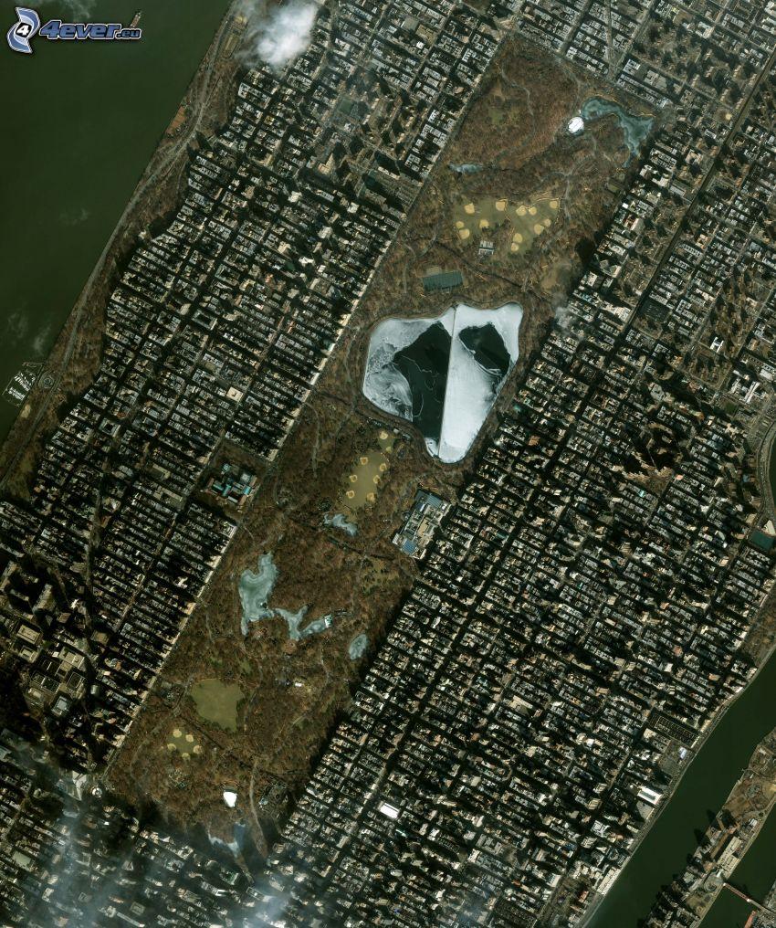 Central Park, Manhattan, New York, Satellitenbild