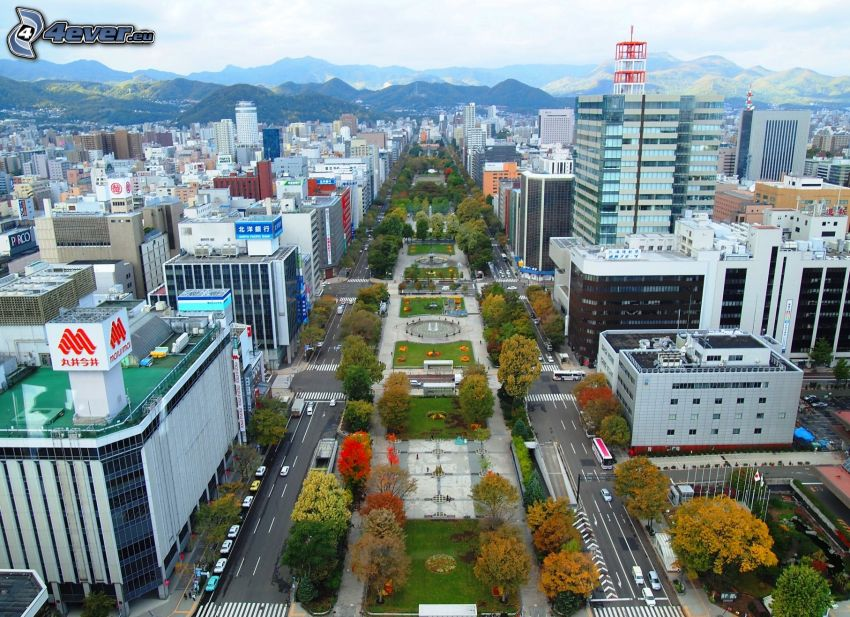 Odori Park, Sapporo, Berge