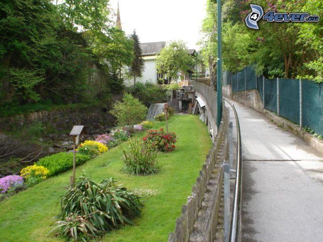 Park, Gehweg, Blumen